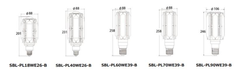 LEDコーンライト寸法図面