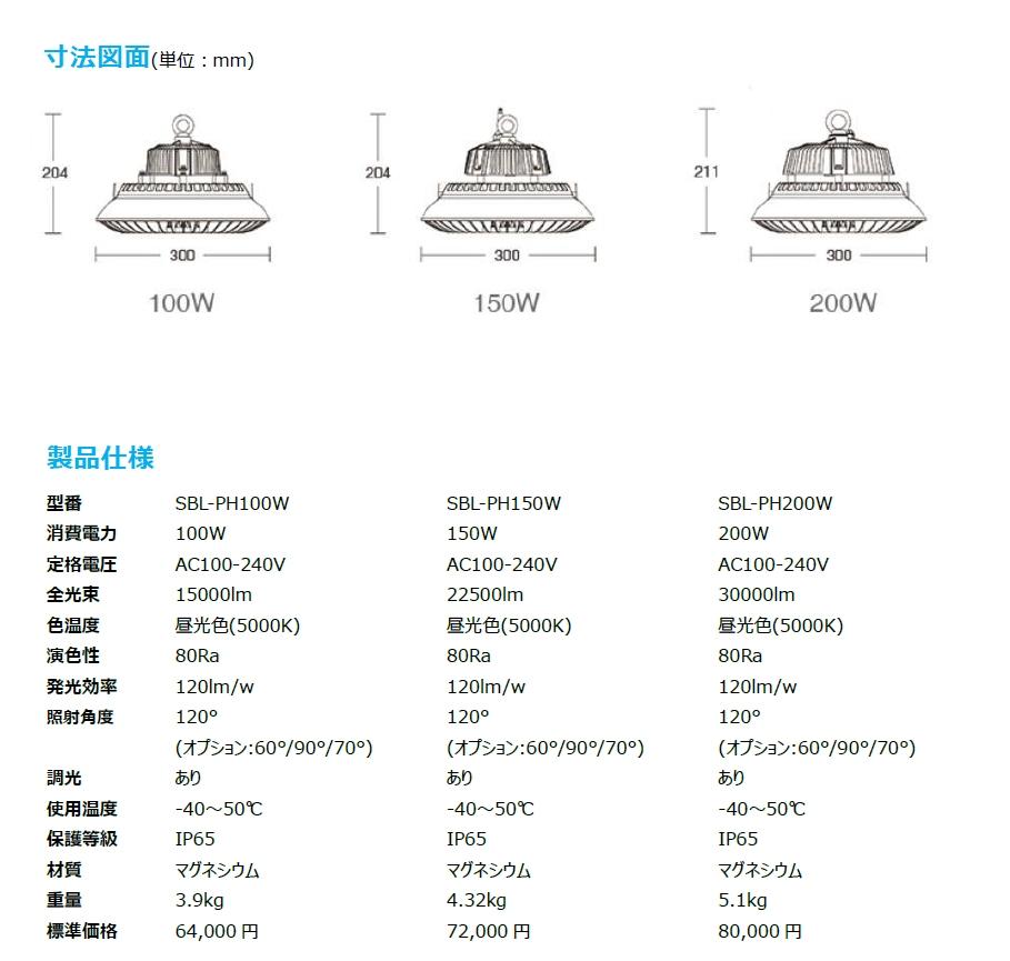 LED高天井灯 SBL-PH100W SBL-PH150W SBL-PH200W