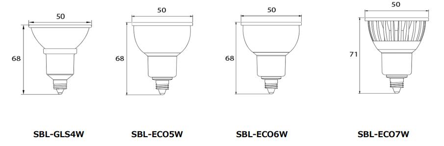 LEDスポットライト 寸法図